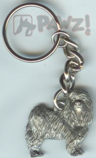 Maltese Puppy Cut Dog Pewter Keychain Key Chain Ring