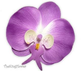 10 Purple Silk Flower Heads Artificial Orchid Wedding