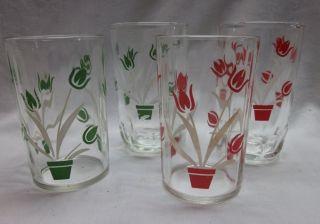 SET 4 VINTAGE JUICE GLASSES SWANKY SWIGS TULIPS 2 STYLES 2 RED 2 GREEN