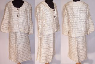 Vintage 1960s Jackie O Mad Men Style Cream Boucle Knit Wool Striped