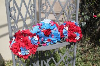 Blue Red White silk rose orchid Bridal Wedding Bouquet Boutonniere