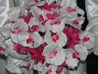 White Orchid Wedding Bouquet Set 16pc Special Bridal Rose♥
