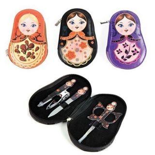 Babushka Manicure Set New 4 Piece Travel Kit Assorted Colors
