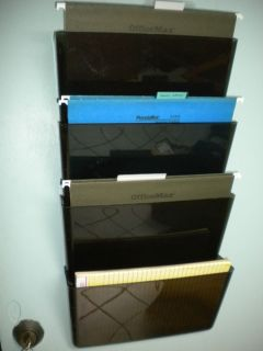 Wall Mount Magazine File Rack Hard Plastic Smoke Color Four Pockets