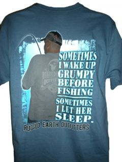 Funny Fisht Shirt Sometimes I Wake Up Grumpy Man w Fishing Pole
