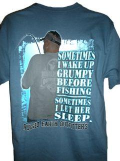 Funny Fisht Shirt Sometimes I Wake Up Grumpy Man w Fishing Pole