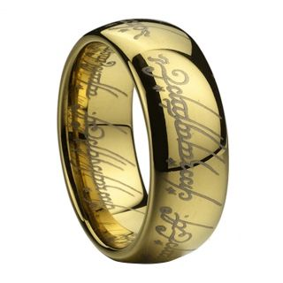 Steel Gold Filled Women Men Jewellery Ring Size S Lord of The Rings