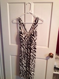 Brown Size M Zebra Print Casual Dress