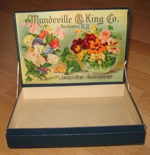 SCARCE Mandeville King Co ADVERTISING SEED CARDBOARD BOX SIGN STUNNING