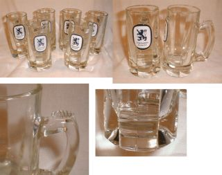 VG Heavy Glass Lowenbrau Munich Beer Steins Mugs Bar Glasses w Logo
