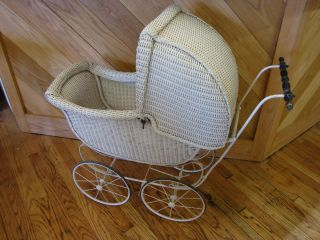 Antique white wicker baby / doll stroller carraige or pram very nice
