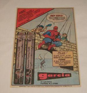 1984 Spider Man Garcia Fishing Pole Cartoon Ad Page