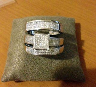 Men Womens Diamond Rings Trio Set Wedding Rings White Gold Over Silver