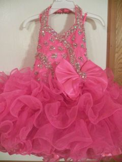 National Pageant Dress Little Rosie Hot Pink Glitz Size 3