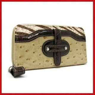 Handbags Marc Chantal Brown Leather Clutch Wallet FREE JEWELRY