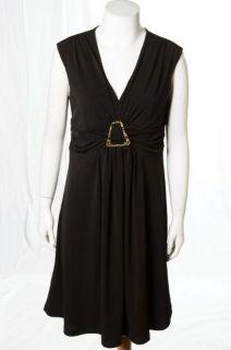Marc Bouwer Black LBD Stretch Knit Evening Cocktail Ruched Dress Sz S
