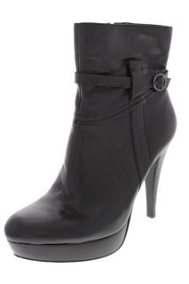 Marc Fisher NEW Teague Black Leather Buckled Platform Boots Shoes 6 5