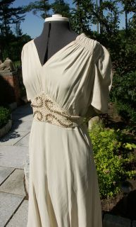 Vintage ivory 1930s style dress film costume Look like a classic movie