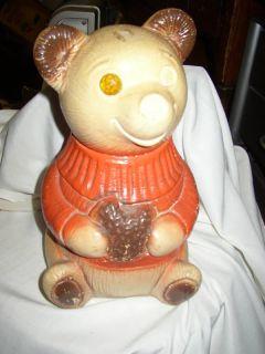 Antique Vintage Chalkware Teddy Bear Piggy Bank