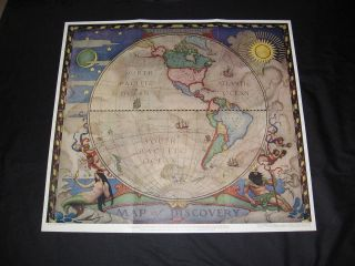 1928 N C Wyeth Print Map of Discovery Western Hemisphere FRAME IT