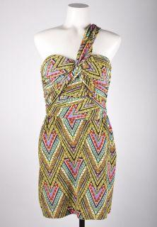 Mara Hoffman NWT 376 Multicolor Silk Abstract Print One Shoulder Dress