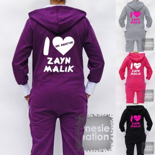 Hooded Hoodie Onesie I Love Heart Zayn Malik One Direction 1D