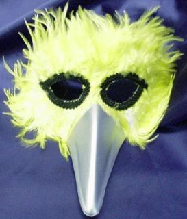 Mardi Gras Mask Yellow Feathered Bird