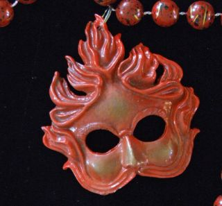 Red Flame Venetian Mask Mardi Gras Beads New Orleans