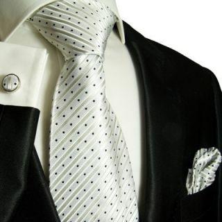 423CH New White Black Paul Malone Silk Necktie Set