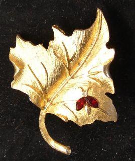 Vintage Mamselle Red Rhinestone Lady Bug on Gold Leaf PIn Brooch