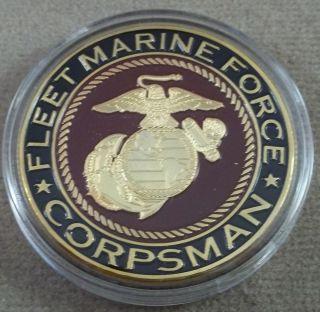 US Marine Corps Fleet Marine Force Corpsman Challenge Coin