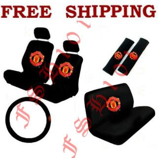 New 11pc Set Soccer Football Manchester United Auto Seat Covers Wheel
