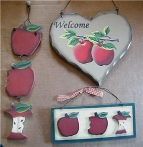 Pc APPLE Welcome Sign Hanging 3 D 3 Stage Country Kitchen Signs C