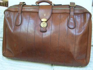 Mark Cross Leather Luggage Vintage Suitcase Italy