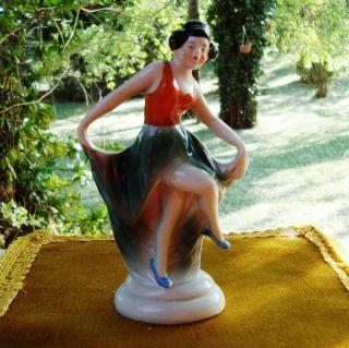 Deco Majolica Dancing Lady B B Mark Hand Painted RARE C 1930S