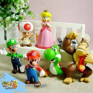 6pcs Super Mario Bros 1 5 2 5 Action Figures Doll Toy Lots 6 Pcs