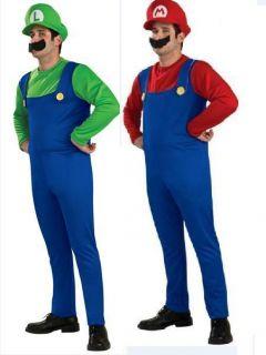 Super Mario Mens Fancy Dress Nintendo Costume Luigi or Mario s M L