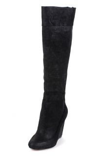 Mark James Badgley Mischka Fred $475 Black Wedge Knee High Leather