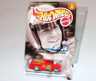 AUTOGRAPHED MARIO ANDRETTI RACING 56 FORD TRUCK HOT WHEELS SIGNED 1 64