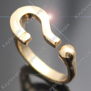 Polish Gold Question Mark Style Finger Ring Goth Punk Rock Fancy Dress