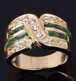 Size 10 or 8 Jewelry Mans Green Emerald 10KT Yellow Gold Filled Ring