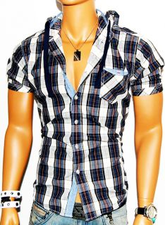 Mens PJ Mark Blue White Striped Vintage Short Sleeve Button Down Shirt