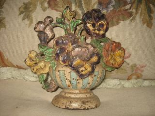 Antique 1930s Hubley Cast Iron Doorstop Pansies