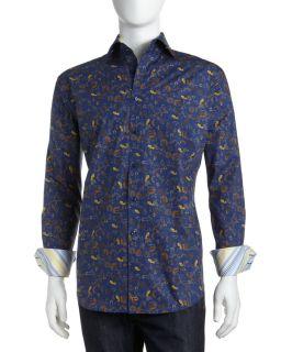 Thomas Dean Floral Print Shirt Blue