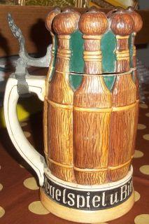 Early Antique Figural Kegelspiel German Lidded Beer Stein Bowling Bier