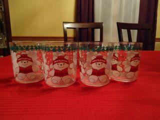 Marshall Field Mistletoe Bear Acrylic Glasses Set of Four w Carrier