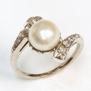 14k White Gold Pearl Diamond Ring Vintage