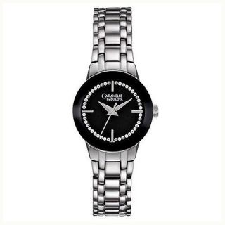 Caravelle by Bulova 43L130 Crystal Black Dial Womens Watch Brand New