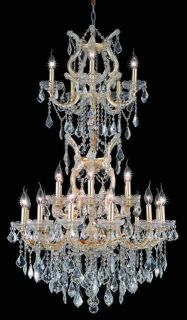 50 Maria Theresa Chandelier w Clear Crystals Gold Fin