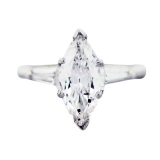 38 Carat Marquise Cut Diamond Engagement Ring with Baguettes